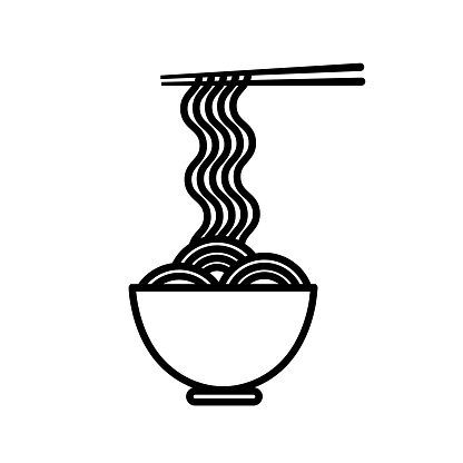 Outline icon with ramen noodle, bowl and pair of chopsticks. Vector illustration in flat style on white background