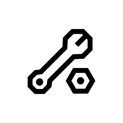 Outline icon. Wrench emblem. Isolated on white. Vector illustration