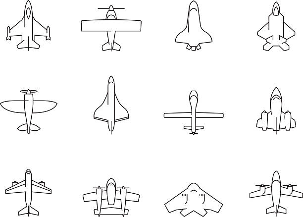 Outline Icons - Airplanes Airplane silhouette icons in thin outlines.- airplanes, aviations aviation and environment summit stock illustrations