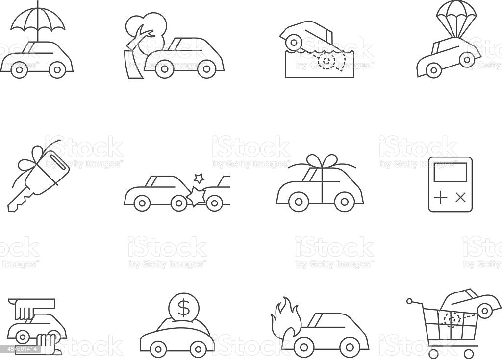 Outline Icons - Auto Insurance vector art illustration