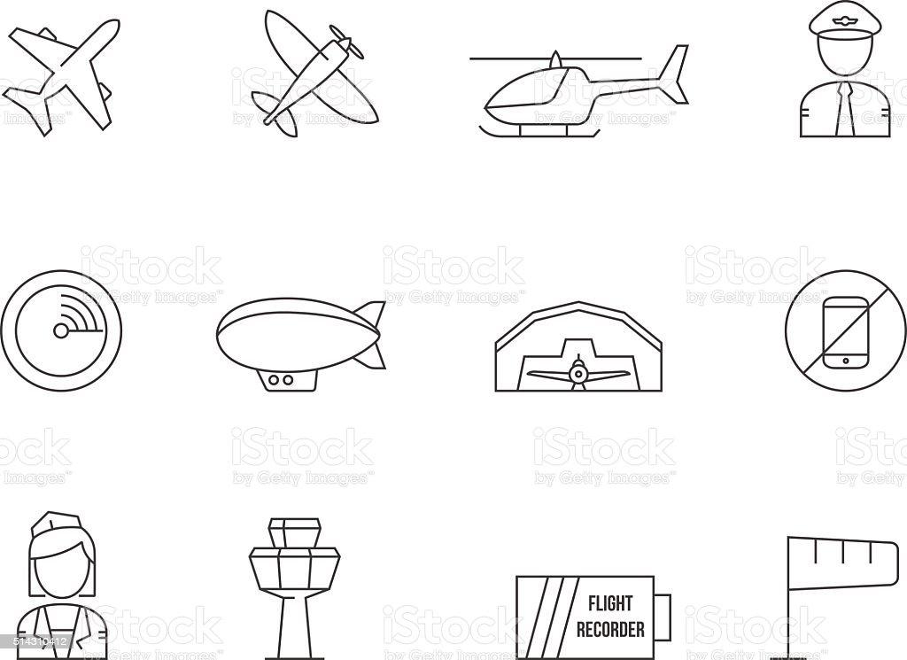 Outline Icons - Aviation vector art illustration