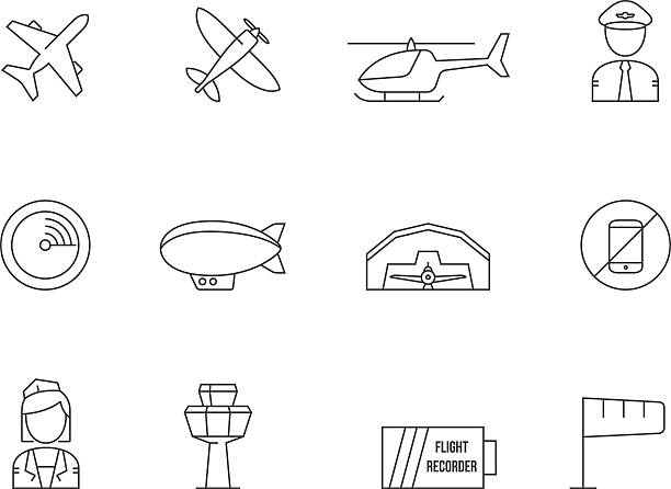 Outline Icons - Aviation Aviation icons in thin outlines. aviation and environment summit stock illustrations