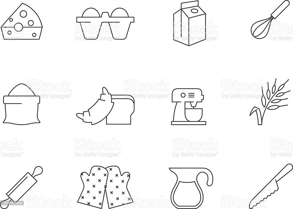Outline Icons - Baking vector art illustration