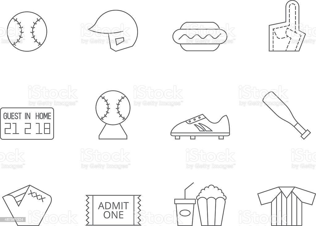 Outline Icons - Baseball vector art illustration