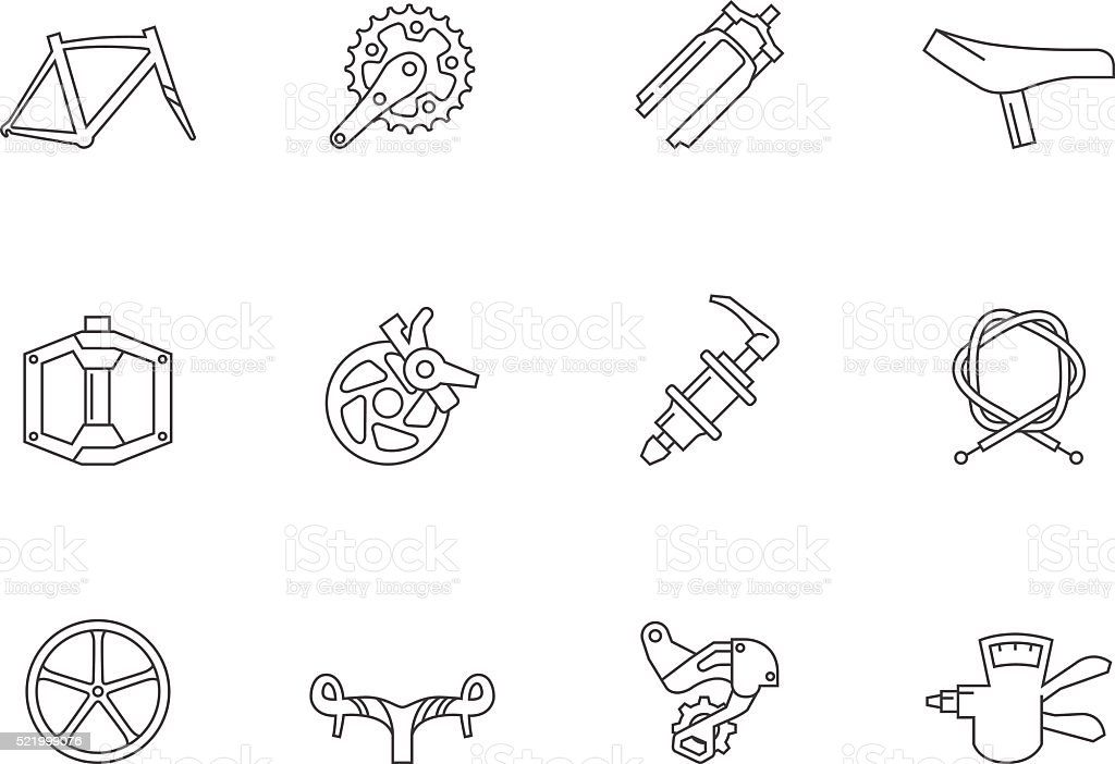Outline Icons - Bicycle Parts vector art illustration