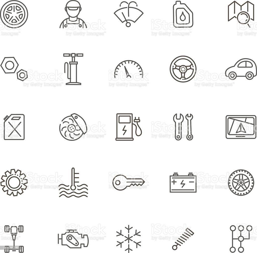 Kontur Symbole Auto Teile Und Dienstleistungen Stock Vektor Art und ...