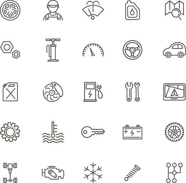 外形アイコン。車の部品およびサービス - 機械工点のイラスト素材/クリップアート素材/マンガ素材/アイコン素材