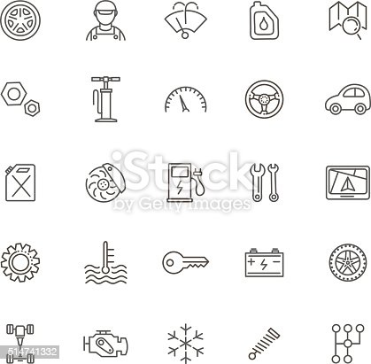 Outline Icons Car Parts And Services Stock Vector Art