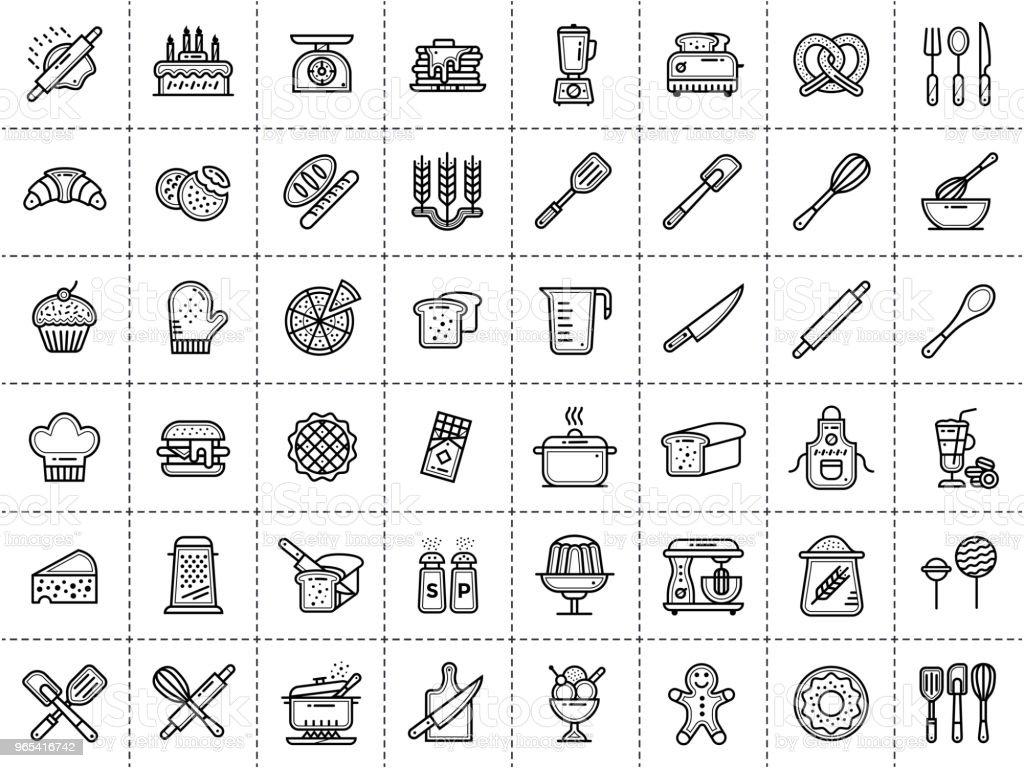 개요 아이콘 컬렉션, 베이커리, 요리. 현대 개요 아이콘 인쇄, 배너 및 웹 사이트에 적합. - 로열티 프리 0명 벡터 아트