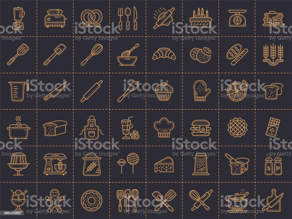 Outline icons collection, bakery and cooking. Modern outline icons suitable for print, banners and websites. royalty-free outline icons collection bakery and cooking modern outline icons suitable for print banners and websites stock vector art & more images of bakery