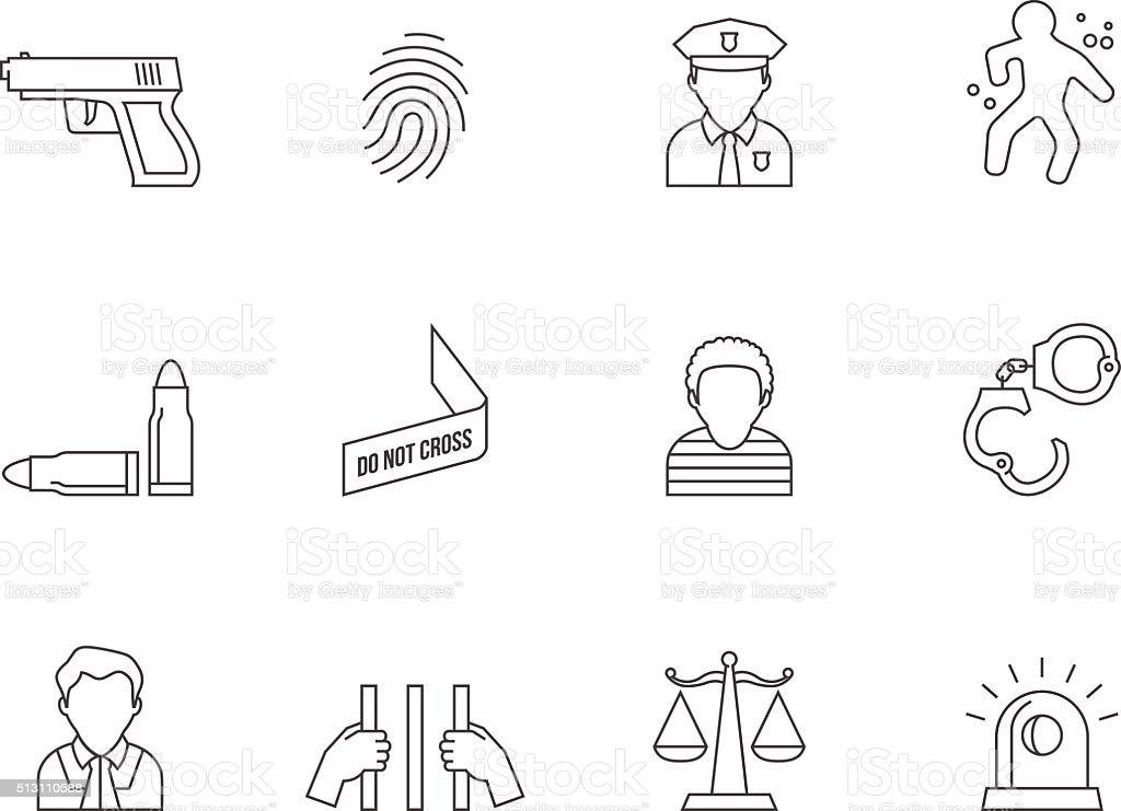 Outline Icons - Crime vector art illustration