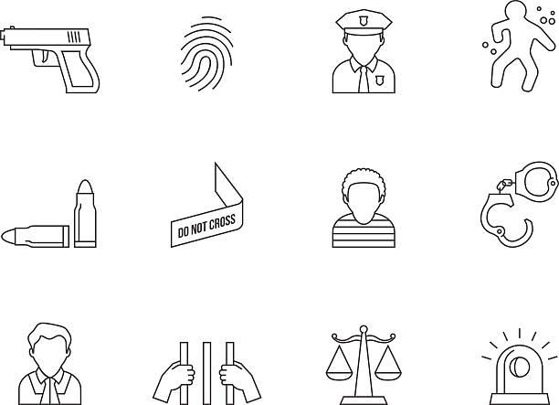 illustrations, cliparts, dessins animés et icônes de icônes de contour de la criminalité - polices ligne fine