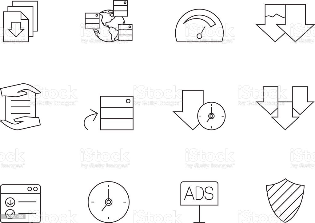 Outline Icons - File Sharing vector art illustration
