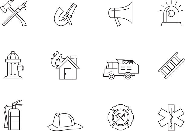 Outline Icons - Fire Fighter Fire fighter icons in thin outlines. maltese cross stock illustrations