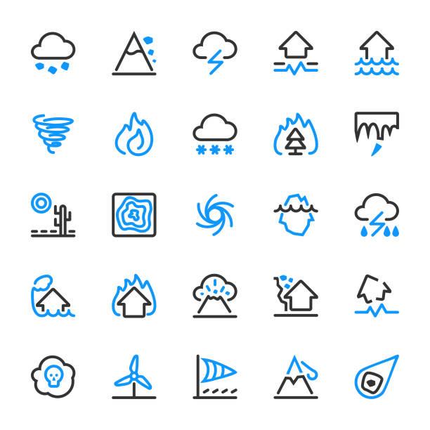 illustrations, cliparts, dessins animés et icônes de 25 icônes d'aperçu des catastrophes naturelles - desastre natural