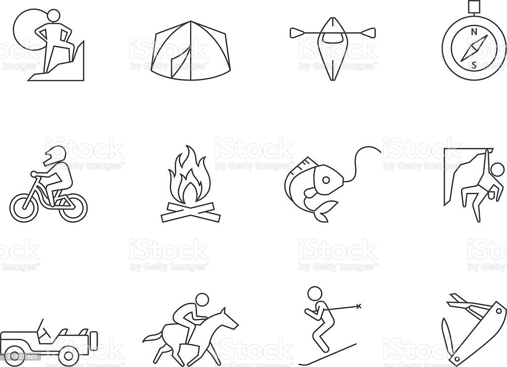 Outline Icons - Outdoor vector art illustration