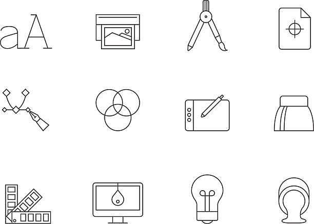 ilustrações, clipart, desenhos animados e ícones de esboço de ícones-impressão & design gráfico - fontes e tipografia