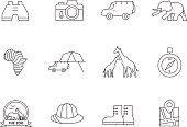 Safari icons in thin outlines.