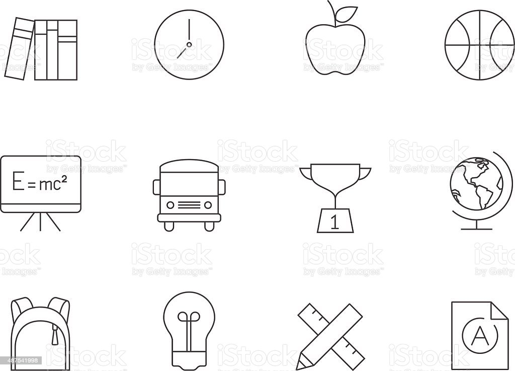Outline Icons - School vector art illustration