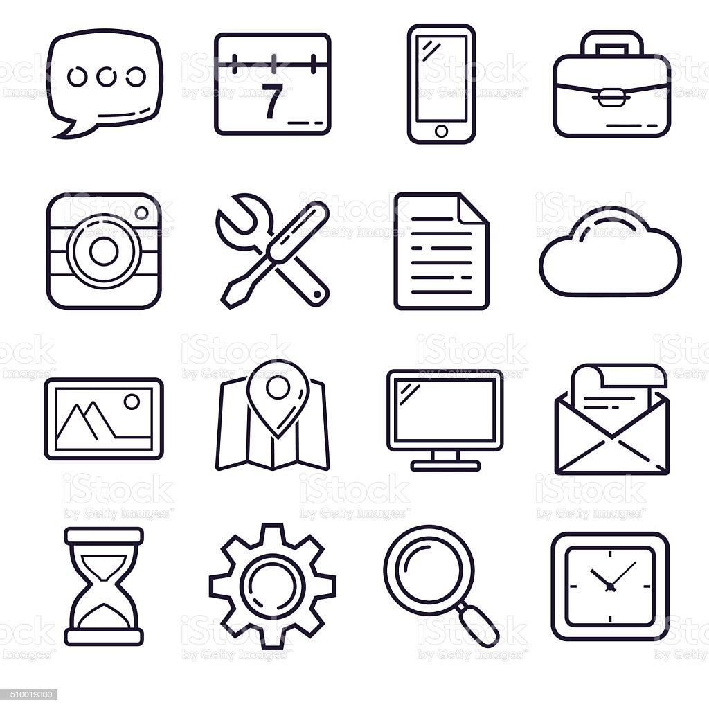 Outline Icons, set 1 vector art illustration