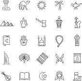 Outline icons set vector symbols - Islam collection