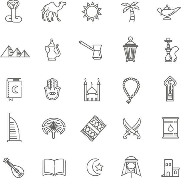 Gliederung Symbole festlegen Vektorsymbolen - Islam-Sammlung – Vektorgrafik