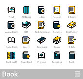 Outline icons thin flat design, modern line stroke style, web and mobile design element, objects and vector illustration icons set 21 - book collection