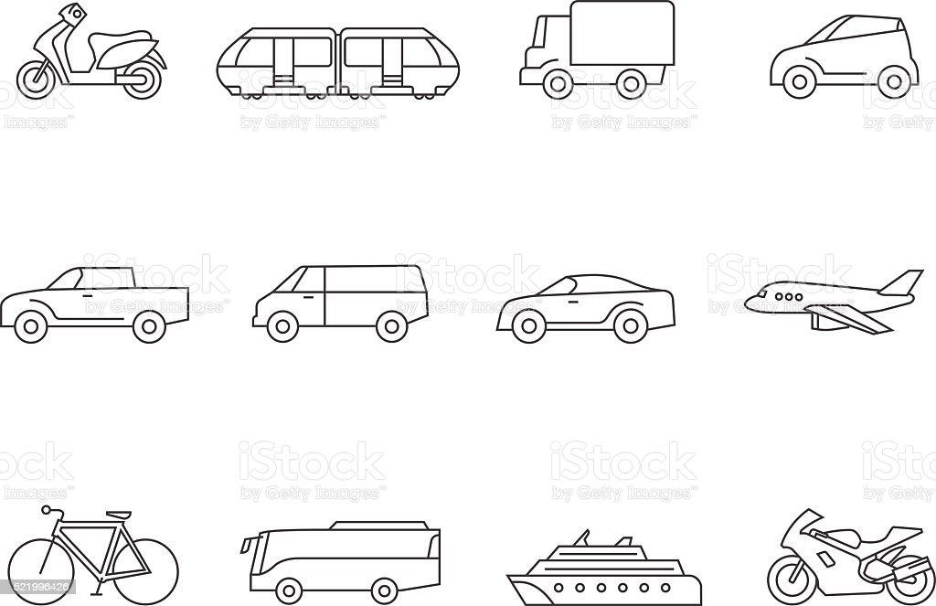 Outline Icons Transportation Stock Illustration