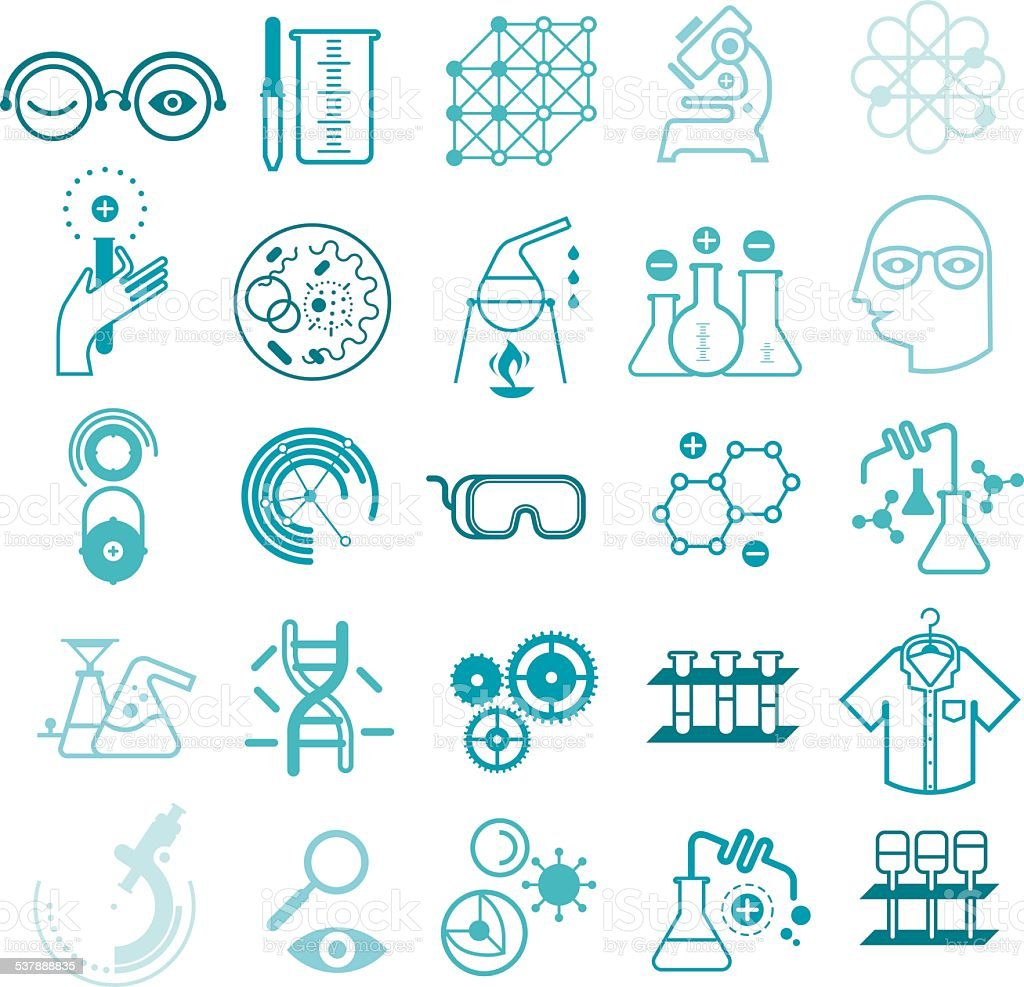 Outline icons with chemistry and science symbols vector art illustration