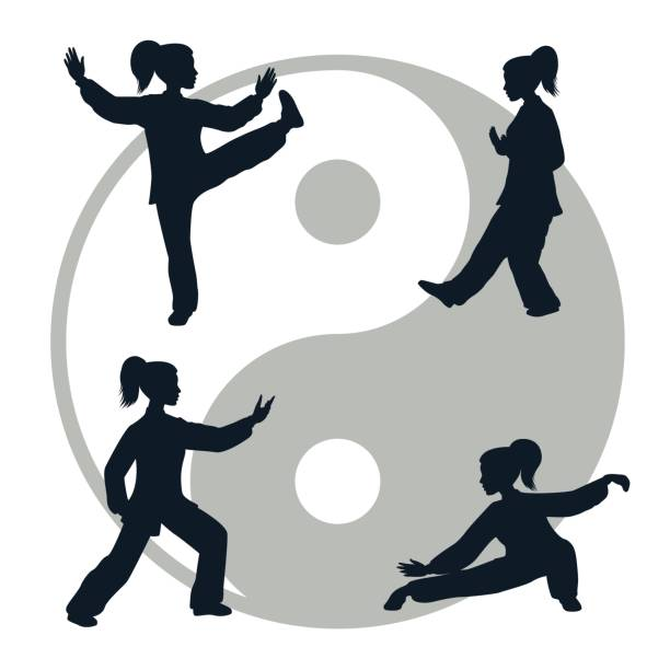 Outline illustration of Tai Chi isolated on white background Vector silhouettes of yang woman performs a few forms of Tai Chi isolated on white background qigong stock illustrations