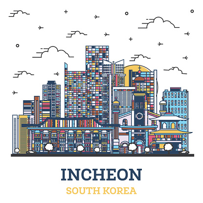 Outline Incheon South Korea City Skyline with Colored Modern Buildings Isolated on White.