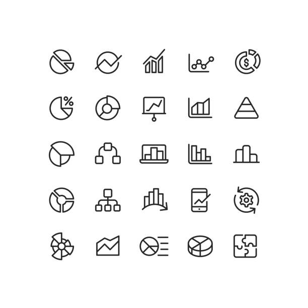 Outline Infographic Icons Set of infographic outline vector icons. sales occupation stock illustrations