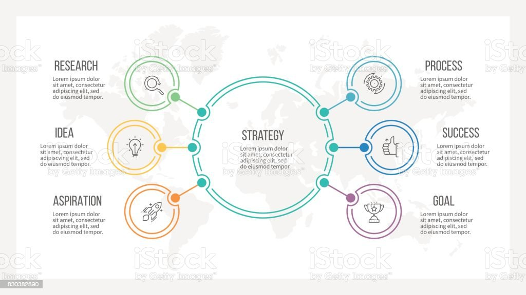 Outline infographic. Organization chart with 6 options. Vector template. royalty-free outline infographic organization chart with 6 options vector template stock illustration - download image now