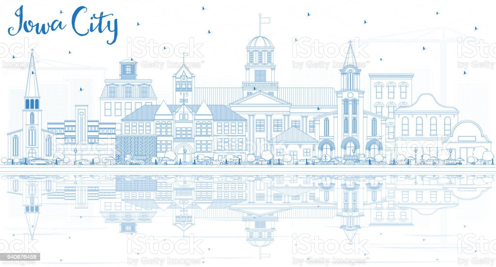 Outline Iowa City Skyline with Blue Buildings and Reflections. vector art illustration