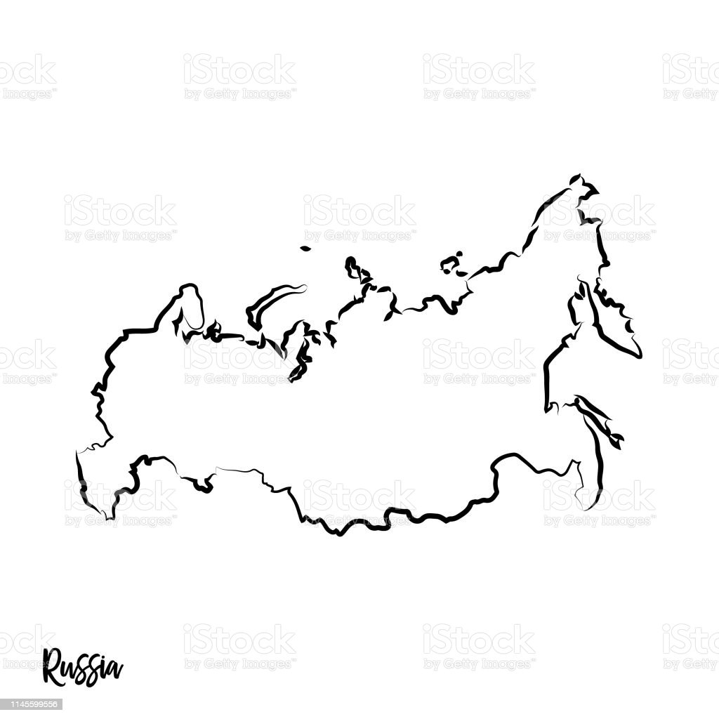 Picture of: Outline Isolated Black Map Of Russia Stock Illustration Download Image Now Istock