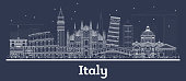 Outline Italy City Skyline with White Buildings. Vector Illustration. Business Travel and Concept with Historic Architecture. Italy Cityscape with Landmarks.