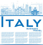 Outline Italy Skyline with Blue Landmarks and Copy Space. Vector Illustration. Business Travel and Tourism Concept with Historic Architecture. Image for Presentation Banner Placard and Web Site.
