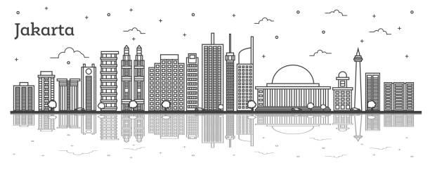 현대 건물 및 반사 개요 자카르타 인도네시아 시 스카이 라인 - 자카르타 stock illustrations