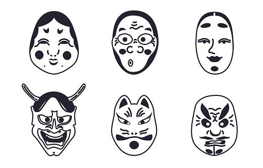 Outline Japanese Kabuki Theater masks collection .