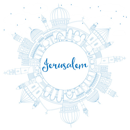 Outline Jerusalem Skyline with Blue Buildings and Copy Space.