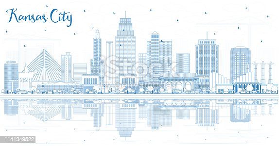 Outline Kansas City Missouri Skyline with Blue Buildings and Reflections.