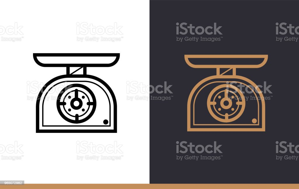 Outline KITCHEN SCALES icon, bakery. Vector line icons suitable for info graphics, print media and interfaces outline kitchen scales icon bakery vector line icons suitable for info graphics print media and interfaces - stockowe grafiki wektorowe i więcej obrazów bez ludzi royalty-free