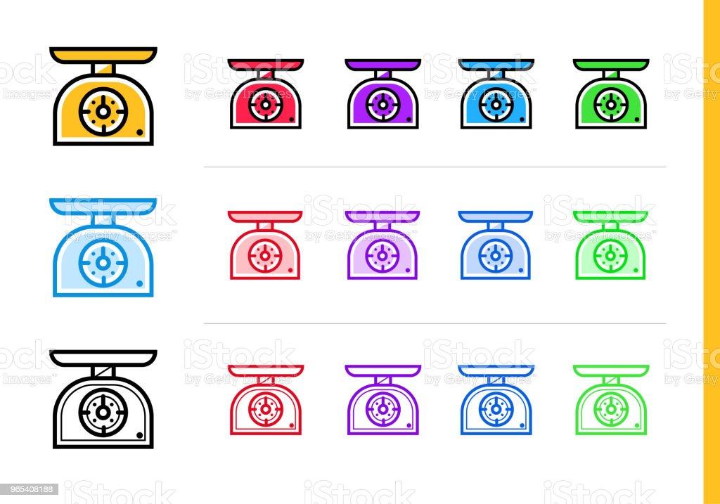 다른 컬러로 주방 저울 아이콘을 설명 합니다. 웹사이트, 모바일 응용 프로그램 및 프레 젠 테이 션에 대 한 적합 한 벡터 요소 - 로열티 프리 0명 벡터 아트