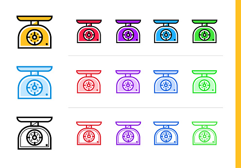 다른 컬러로 주방 저울 아이콘을 설명 합니다 웹사이트 모바일 응용 프로그램 및 프레 젠 테이 션에 대 한 적합 한 벡터 요소 0명에 대한 스톡 벡터 아트 및 기타 이미지