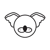 outline koala head animal