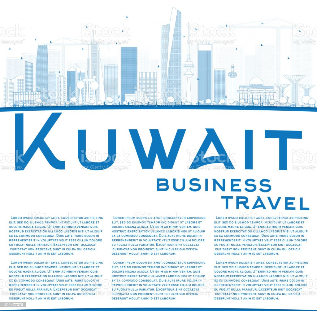 Outline Kuwait City Skyline with Blue Buildings and Copy Space vector art illustration