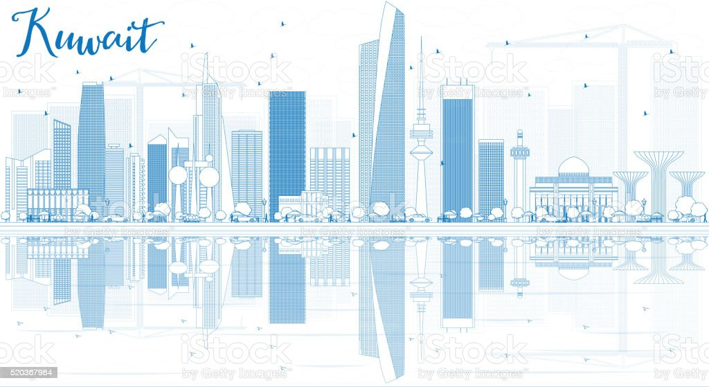 Outline Kuwait City Skyline with Blue Buildings and Reflections. vector art illustration