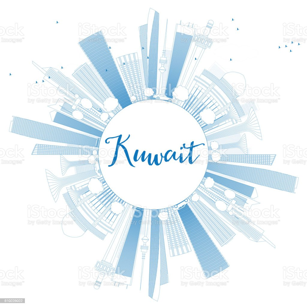 Outline Kuwait City Skyline with Blue Buildings. vector art illustration