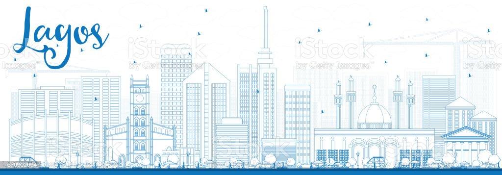 Outline Lagos Skyline with Blue Buildings. vector art illustration