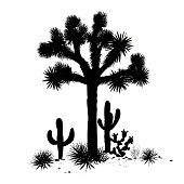 Outline landscape with Joshua tree, agaves, and prickly pear silhouettes. Vector illustration.